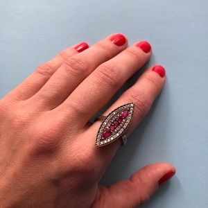 Jewelry - 925 silver ring with Ruby and CZ